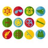 Symboler för polisen för kontur för fastställd design för vektor i olika färger Royaltyfri Foto