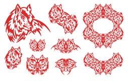 Symboler för röd varg Royaltyfri Bild