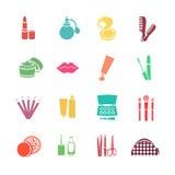 Symboler för rengöringsduk för lägenhet för skönhetsmedelvektoruppsättning Mångfärgat med kosmetiska produkter Arkivbilder
