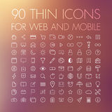 90 symboler för rengöringsduk och mobil Arkivfoto