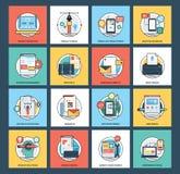 Symboler för rengöringsduk- och mobilutvecklingslägenhet Royaltyfri Fotografi