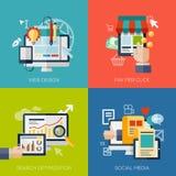 Symboler för rengöringsdukdesign, seo, socialt massmedia och lön stock illustrationer