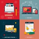 Symboler för rengöringsdukdesignen, seo, socialt massmedia vektor illustrationer