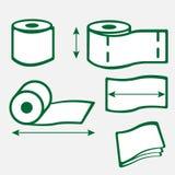 Symboler för rulle för toalettpapper Arkivbild
