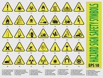 Symboler för säkerhet för faratecken Royaltyfria Foton