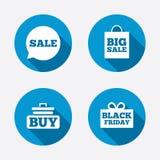 Symboler för Sale anförandebubbla Köp vagnssymbolet Arkivfoto