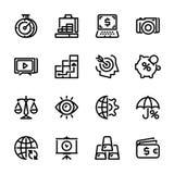Symboler för samling 9, packa ihop service, pengar royaltyfri foto