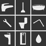 Symboler för sanitär teknik royaltyfri illustrationer