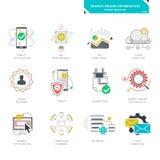 Symboler för Seo internetmarknadsföring, modern plan design Royaltyfri Bild