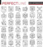 Symboler för SEO Search Engine Optimization översiktsbegrepp Perfekt tunn linje symboler Linjär stil för modern slaglängd vektor illustrationer