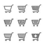 Symboler för shoppingvagn Arkivfoton