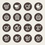 Symboler för shoppingvagn vektor illustrationer