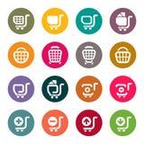 Symboler för shoppingvagn stock illustrationer