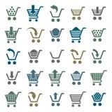Symboler för shoppingvagn som isoleras på vit bakgrund Arkivbild