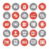 Symboler för skåra för lägenhet för printinghus Trycket shoppar utrustning - skrivaren, bildläsaren, offsetmaskinen, plottaren, b royaltyfri illustrationer