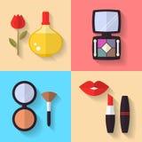 Symboler för skönhetsmedel- och makeupvektorlägenhet Arkivbilder