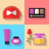 Symboler för skönhetsmedel- och makeupvektorlägenhet Royaltyfri Fotografi