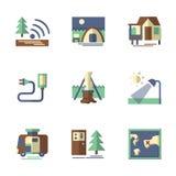Symboler för skogturismlägenhet Royaltyfria Bilder