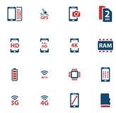 Symboler för Smarthone specifikationer enkelt Arkivfoton