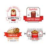 Symboler för snabbmatvektormeny av fastfoodrestaurangen vektor illustrationer