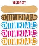 Symboler för Snowboardprövkopialägenhet för design vektor Royaltyfri Foto