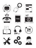 Symboler för svart för servicemitt För servicekund för Tech 24h vektor för folk för hjälp för chef för telefon för hörlurar med m vektor illustrationer