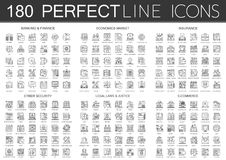 180 symboler för symbol för mini- begrepp för översikt infographic av finansbankrörelsen, nationalekonomimarknad, imsurance, cybe stock illustrationer