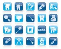 Symboler för tand- medicin och hjälpmedel royaltyfri illustrationer
