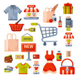 Symboler in för tecknad film för supermarketlivsmedelsbutikshopping ställde retro med isolerade produkter för mat och för komrets Arkivbild