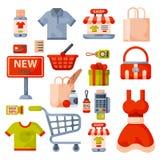 Symboler in för tecknad film för supermarketlivsmedelsbutikshopping ställde retro med isolerade produkter för mat och för komrets Arkivfoto