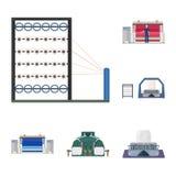 Symboler för tecknad film för textilbransch i uppsättningsamlingen för design Symbolet för textilutrustning- och tygvektorn lager Arkivfoto