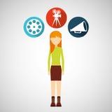 Symboler för tecknad filmflickafilm Royaltyfri Foto