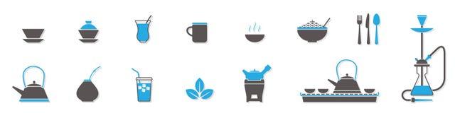 Symboler för tekoppar och kokkärl royaltyfri illustrationer