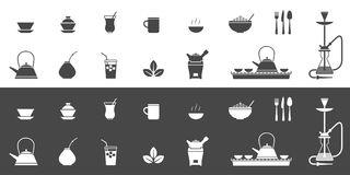 Symboler för tekoppar och kokkärl vektor illustrationer