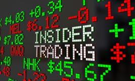 Symboler för Ticker för insideraffärsmanIllegal Stock Market handel royaltyfri illustrationer
