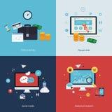 Symboler för tid är pengar, lön per klick, direktanslutet Arkivbild