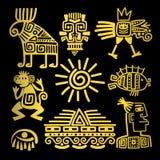 Symboler för totem för Mayastil guld- linjära royaltyfri illustrationer