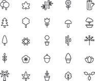 Symboler för träd och växter Arkivfoto