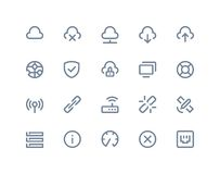 Symboler för trådlöst nätverk Linje serie Royaltyfria Foton