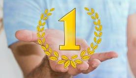 Symboler för trofé för vinnare för affärsmaninnehav hand drog Arkivfoto