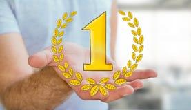 Symboler för trofé för vinnare för affärsmaninnehav hand drog Arkivfoton