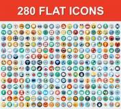 280 symboler för universell lägenhet Arkivfoton