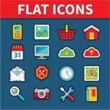 Symboler för universell lägenhet för rengöringsduk- och mobilapplikationer Royaltyfria Foton