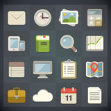 Symboler för universell lägenhet för rengöringsduk och mobiluppsättning 1 Arkivfoto