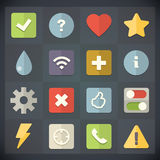 Symboler för universell lägenhet för rengöringsduk och mobiluppsättning 3 Royaltyfri Fotografi