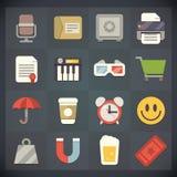 Symboler för universell lägenhet för rengöringsduk och mobiluppsättning 6 Arkivfoto