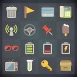 Symboler för universell lägenhet för rengöringsduk och mobiluppsättning 7 Royaltyfri Foto
