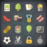 Symboler för universell lägenhet för rengöringsduk och mobiluppsättning 12 Arkivfoto