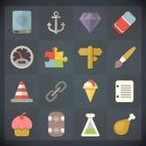 Symboler för universell lägenhet för rengöringsduk och mobiluppsättning 11 Royaltyfri Foto
