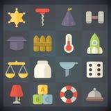Symboler för universell lägenhet för rengöringsduk och mobiluppsättning 14 Royaltyfri Fotografi